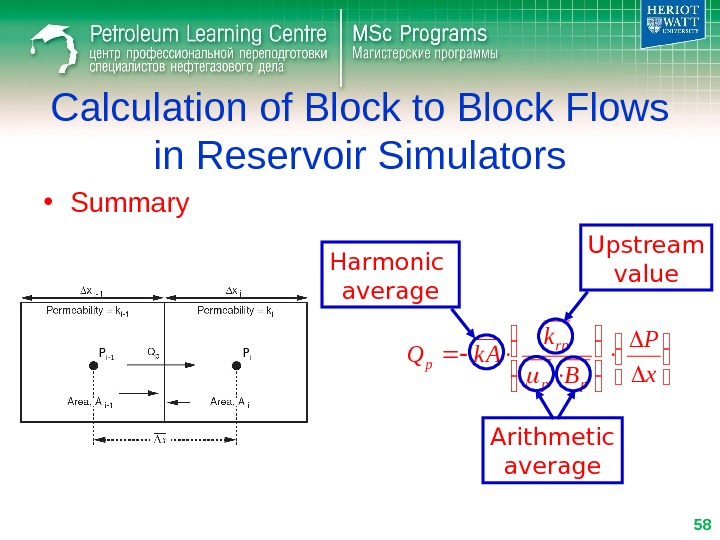 Calculation of Block to Block Flows in Reservoir Simulators • Summary    x P
