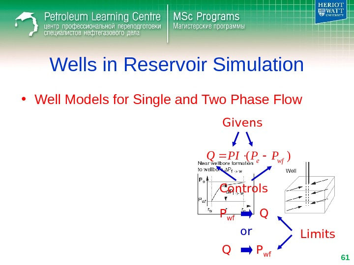 Wells in Reservoir Simulation • Well Models for Single and Two Phase Flow)(wfe. PPPIQ Givens Controls
