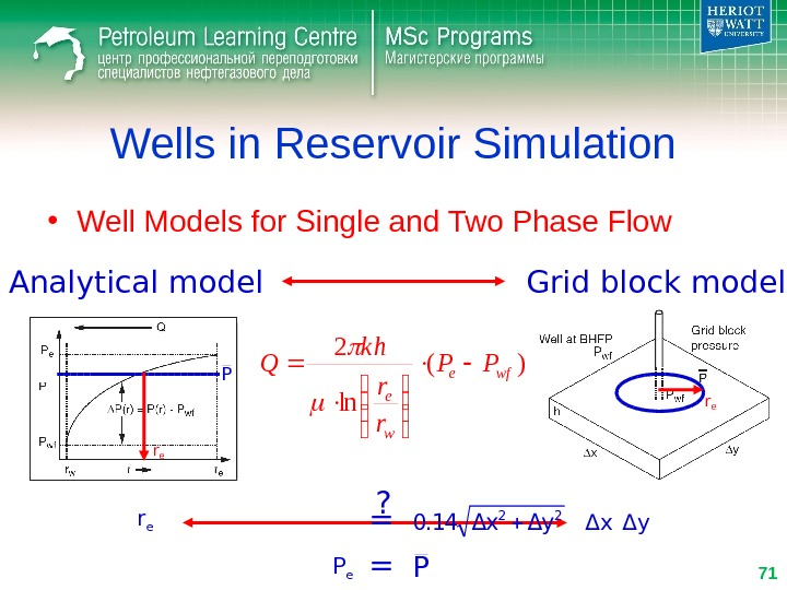 Wells in Reservoir Simulation • Well Models for Single and Two Phase Flow)( ln 2 wfe
