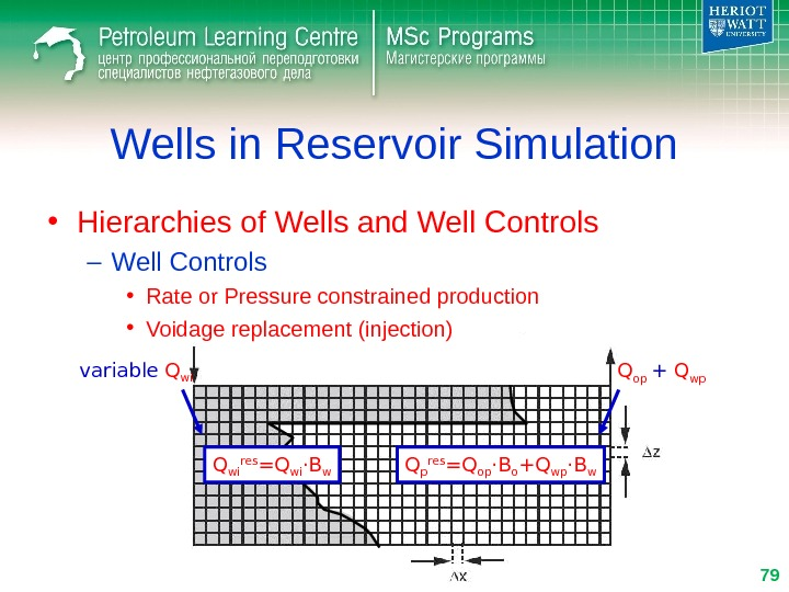 Wells in Reservoir Simulation • Hierarchies of Wells and Well Controls – Well Controls • Rate