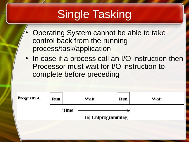 Single Tasking • Operating System cannot be able to take control back from the running process/task/application