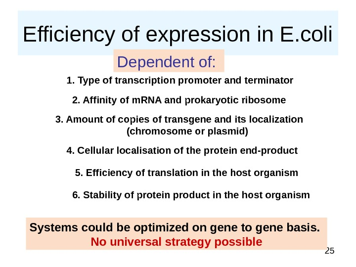 25 Efficiency of expression in E. coli Dependent of:  1. Type of transcription promoter and
