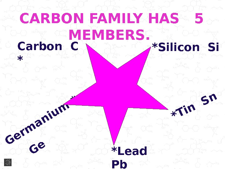 CARBON FAMILY HAS  5 MEMBERS.  Carbon C * *Silicon Si. G e rm a