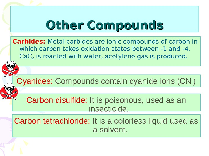 Other Compounds Carbides:  Metal carbides are ionic compounds of carbon in which carbon takes oxidation