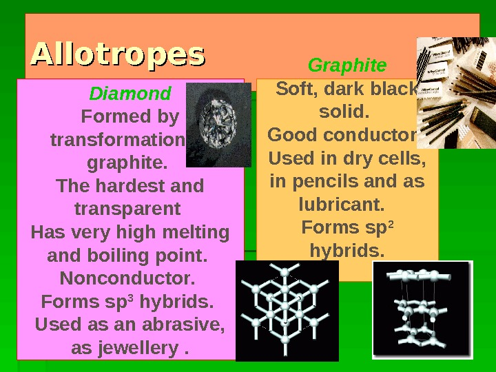 Allotropes Graphite Soft, dark black solid.  Good conductor.  Used in dry cells,  in