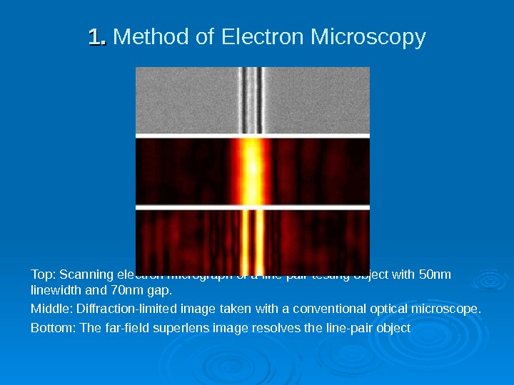 1. 1.  Method of Electron Microscopy Top: Scanning electron micrograph of a line-pair testing object