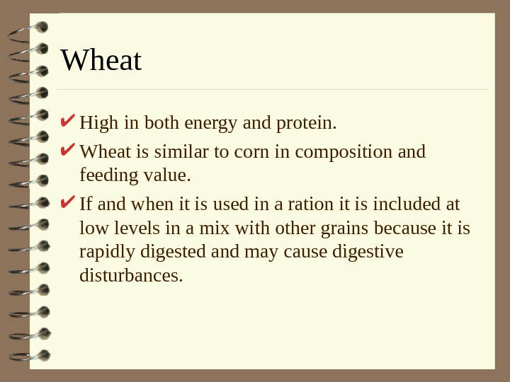Wheat High in both energy and protein.  Wheat is similar to corn in