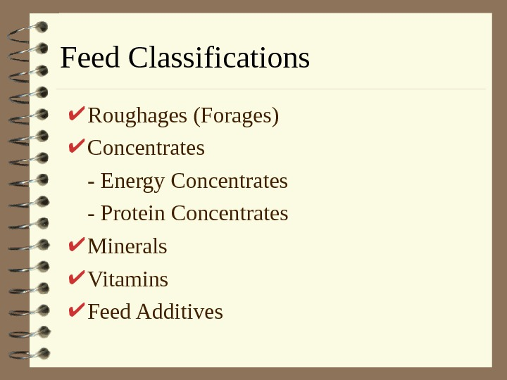 Feed Classifications Roughages (Forages) Concentrates - Energy Concentrates - Protein Concentrates Minerals Vitamins Feed