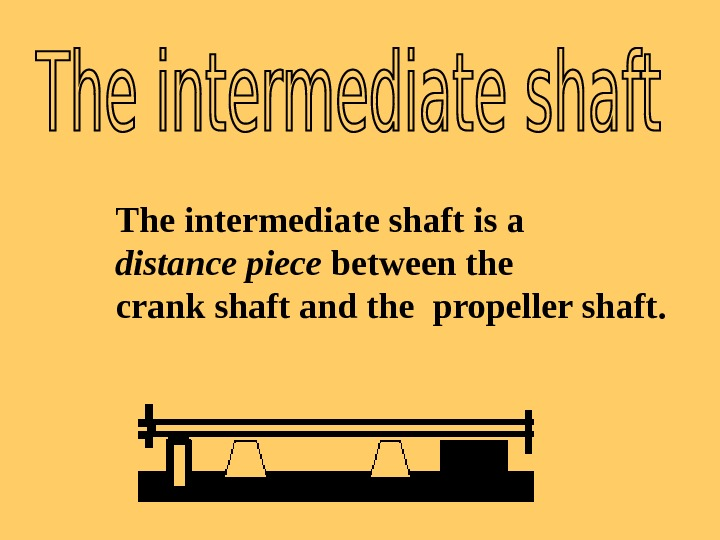The intermediate shaft is a distance piece between the crank shaft and the propeller shaft.