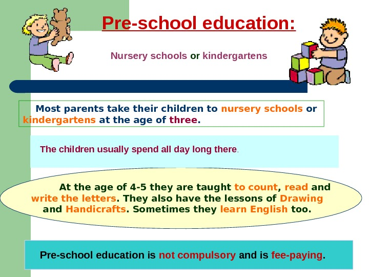 Pre-school education:    Nursery schools or kindergartens Most parents take their children