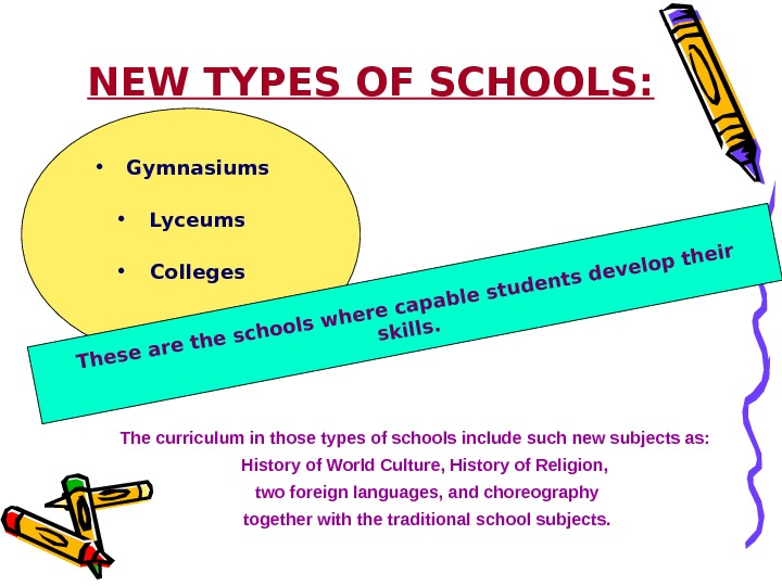 NEW TYPES OF SCHOOLS:  • Gymnasiums • Lyceums • Colleges. These are the
