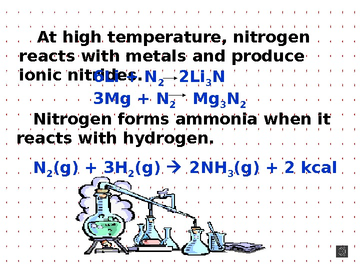 At high temperature, nitrogen reacts with metals and produce ionic nitrides.  Nitrogen forms