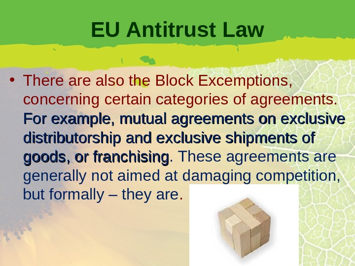 EU Antitrust Law • There also the Block Excemptions,  concerning certain categories of agreements.