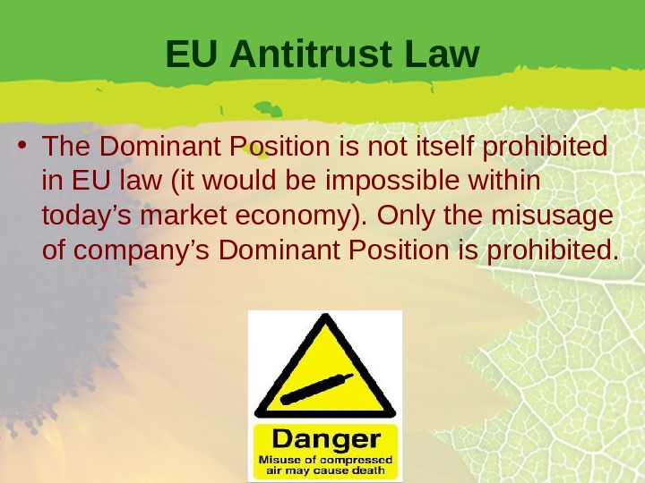 EU Antitrust Law • The Dominant Position is not itself prohibited in EU law (it would