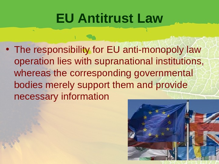 EU Antitrust Law • The responsibility for EU anti-monopoly law operation lies with supranational institutions,