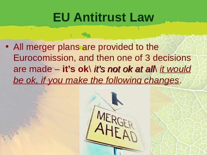 EU Antitrust Law • All merger plans are provided to the Eurocomission, and then one of