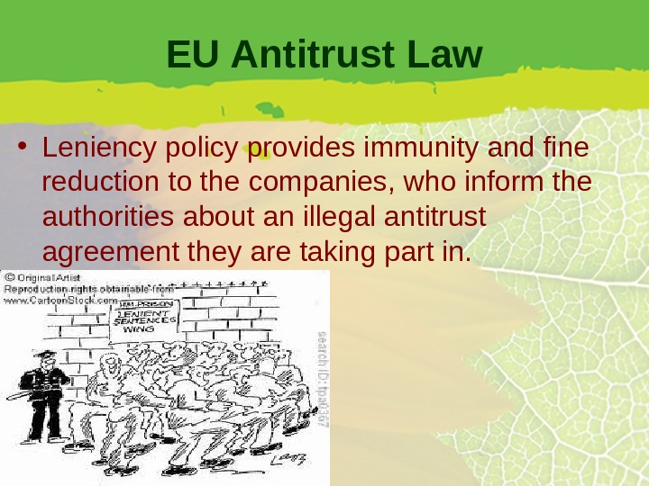 EU Antitrust Law • Leniency policy provides immunity and fine reduction to the companies, who inform