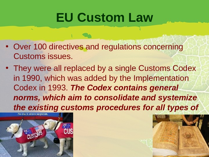 EU Custom Law • Over 100 directives and regulations concerning Customs issues.  • They were