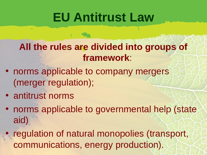 EU Antitrust Law All the rules are divided into groups of framework :  • norms