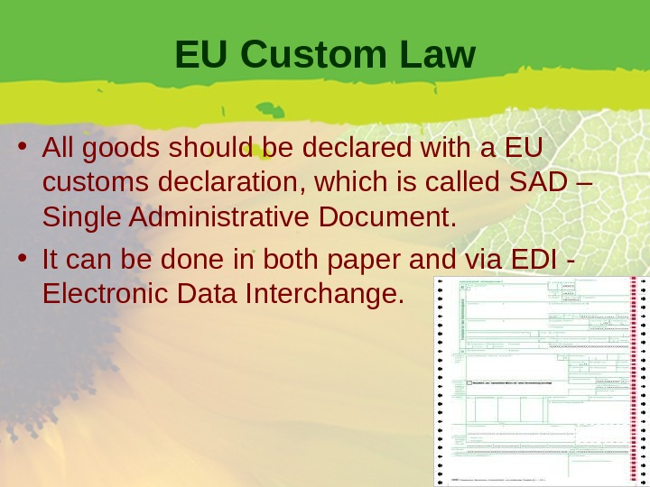 EU Custom Law • All goods should be declared with a EU customs declaration, which is