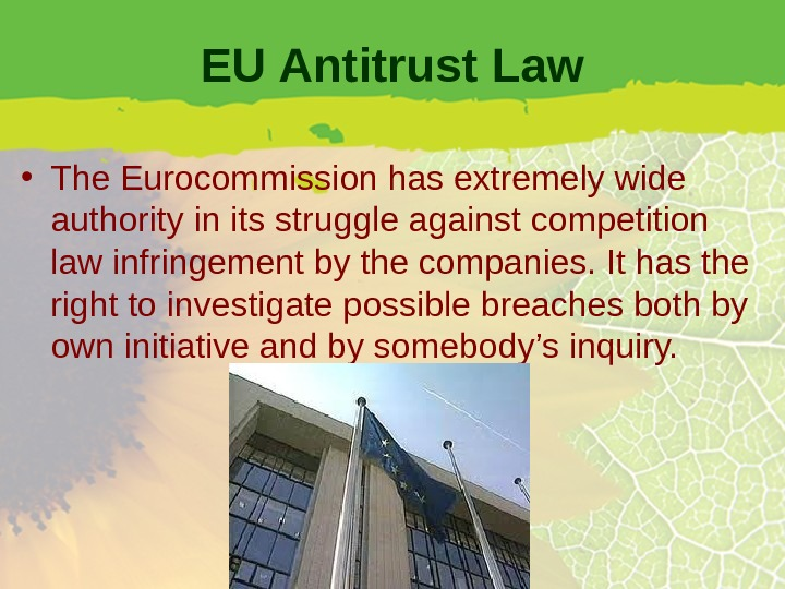 EU Antitrust Law • The Eurocommission has extremely wide authority in its struggle against competition law
