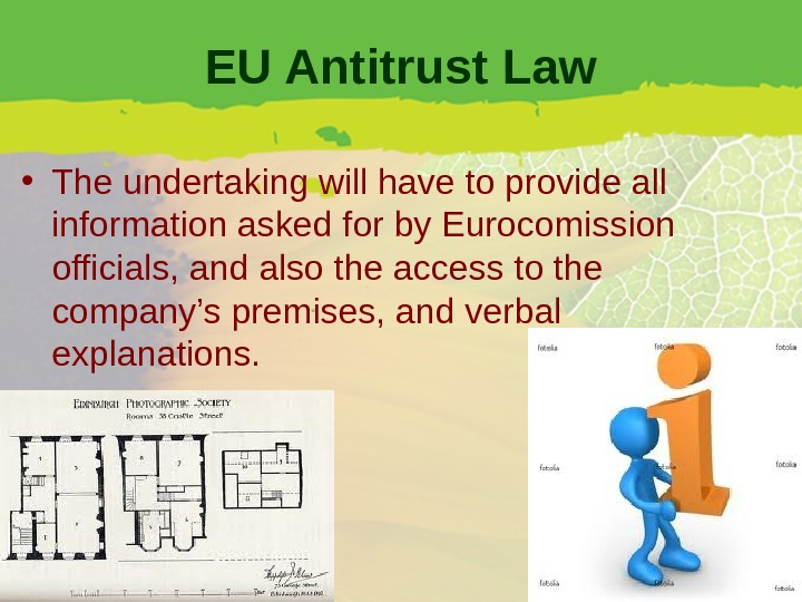 EU Antitrust Law • The undertaking will have to provide all information asked for by Eurocomission