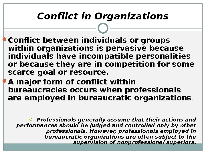 Conflict in Organizations Conflict between individuals or groups within organizations is pervasive because individuals have incompatible
