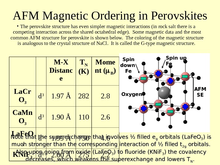 AFM Magnetic Ordering in Perovskites • The perovskite structure has even simpler magnetic interactions