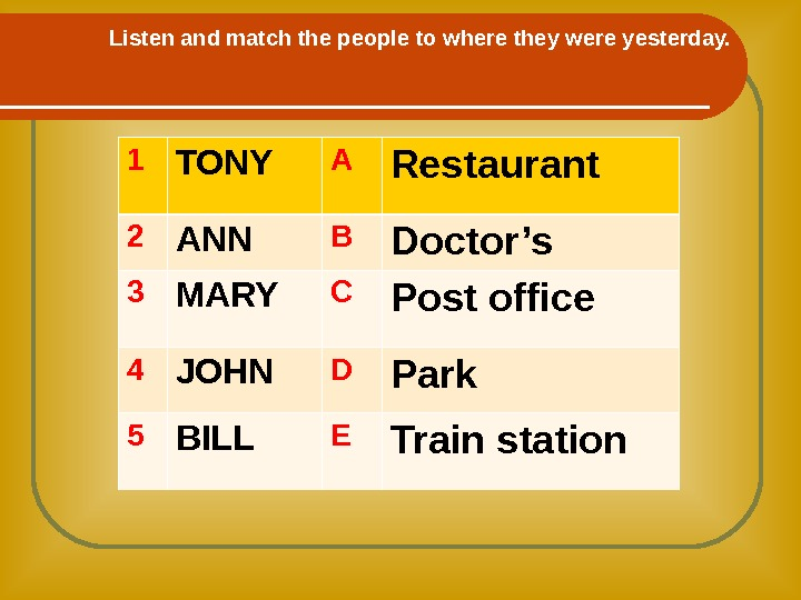Listen and match the people to where they were yesterday. 1 TONY A Restaurant 2