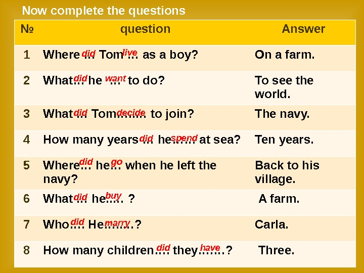 Now complete the questions № question Answer 1 Where … Tom … as a boy?