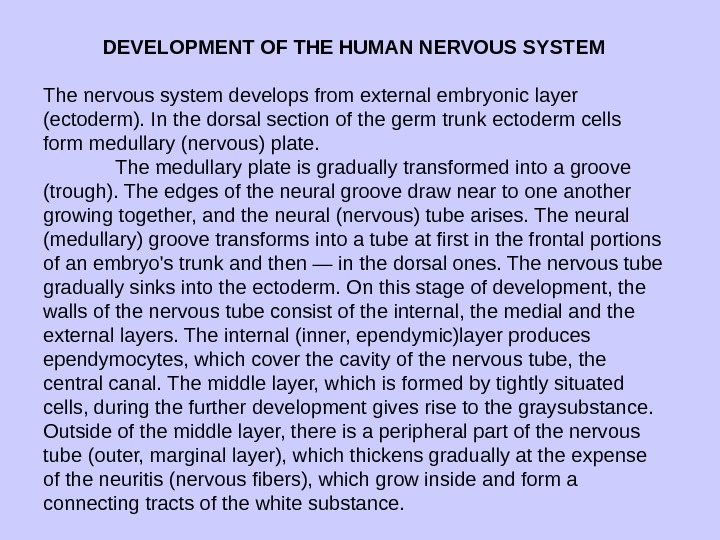 DEVELOPMENT OF THE HUMAN NERVOUS SYSTEM The nervous system develops from external embryonic layer (ecto derm).