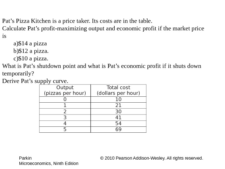 Parkin © 2010 Pearson Addison-Wesley. All rights reserved. Microeconomics, Ninth Edition Output (pizzas per hour) Total