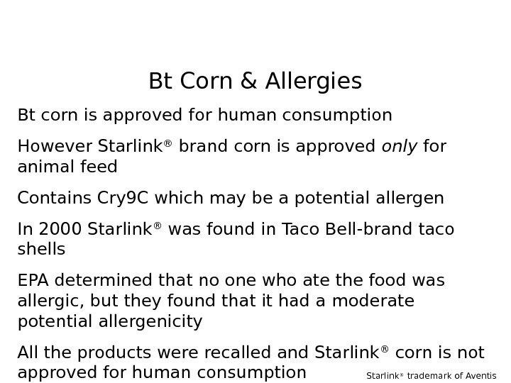 Bt Corn & Allergies Bt corn is approved for human consumption However Starlink ®