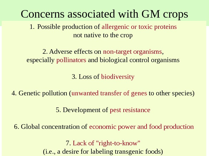Concerns associated with GM crops 1. Possible production of allergenic or toxic proteins
