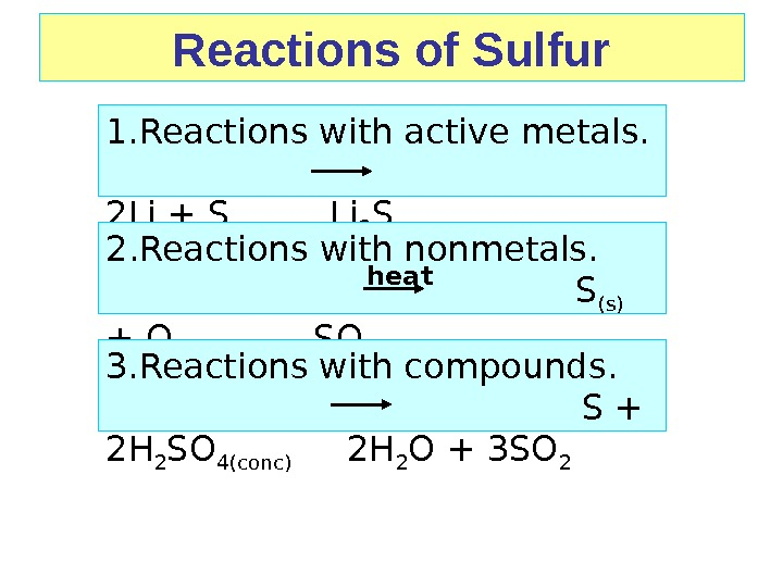 Reactions of Sulfur 1. Reactions with active metals.    2 Li + S