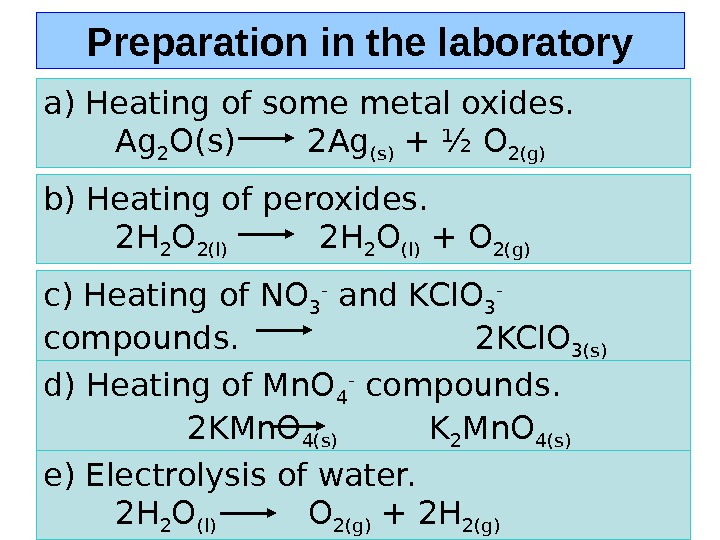 Preparation in the laboratory a) Heating of some metal oxides.   Ag 2 O(s)