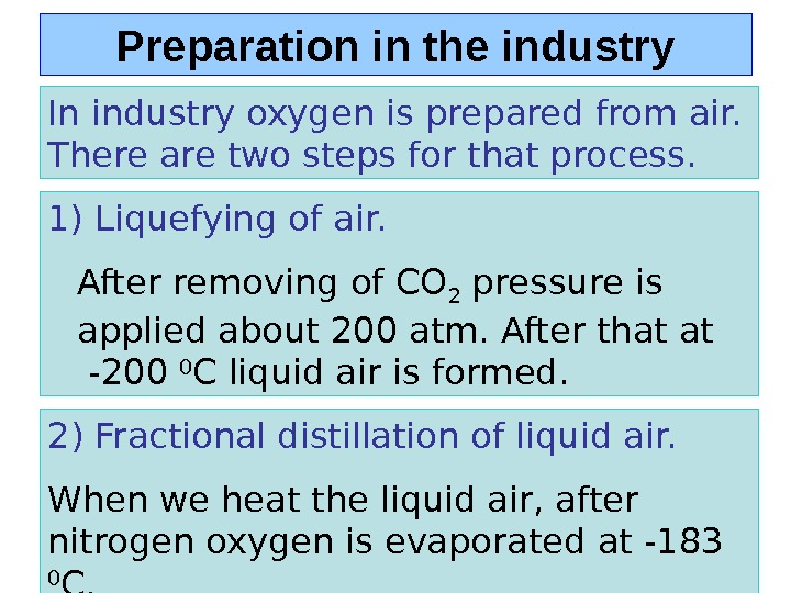 Preparation in the industry In industry oxygen is prepared from air.  There are two steps