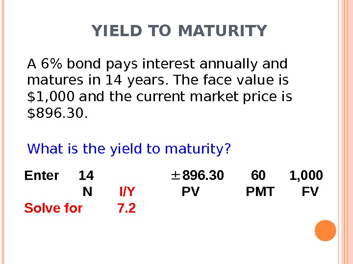 YIELD TO MATURITY A 6 bond pays interest annually and matures in 14 years. The face