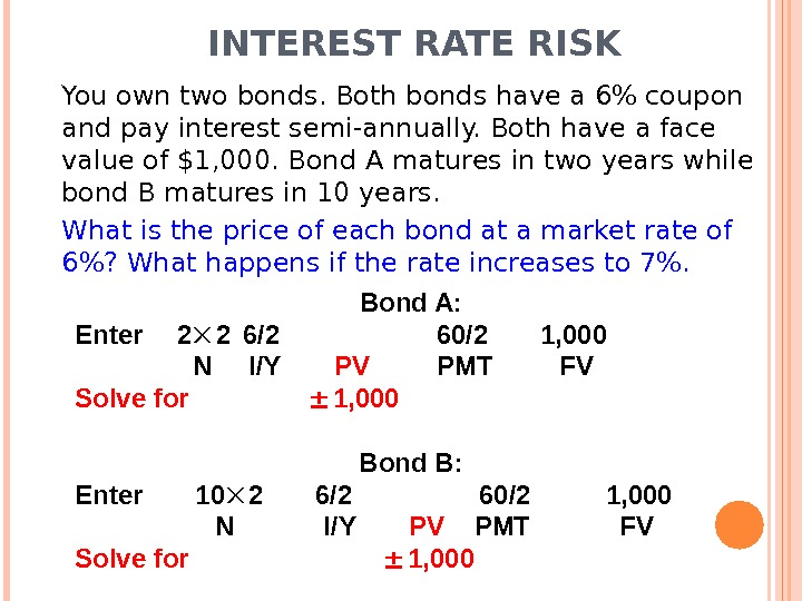 INTEREST RATE RISK You own two bonds. Both bonds have a 6 coupon and pay interest