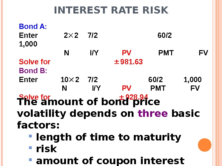 INTEREST RATE RISK Bond A: Enter  2 2 7/2     60/2