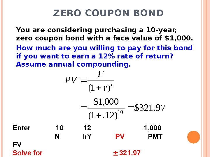 ZERO COUPON BOND You are considering purchasing a 10 -year,  zero coupon bond with a