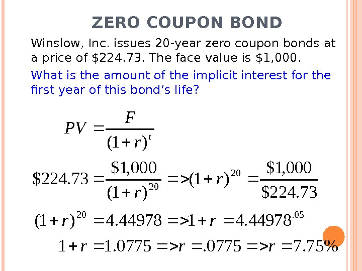 ZERO COUPON BOND Winslow, Inc. issues 20 -year zero coupon bonds at a price of $224.