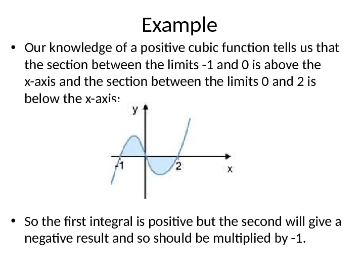 Example • Our knowledge of a positive cubic function tells us that the section between the