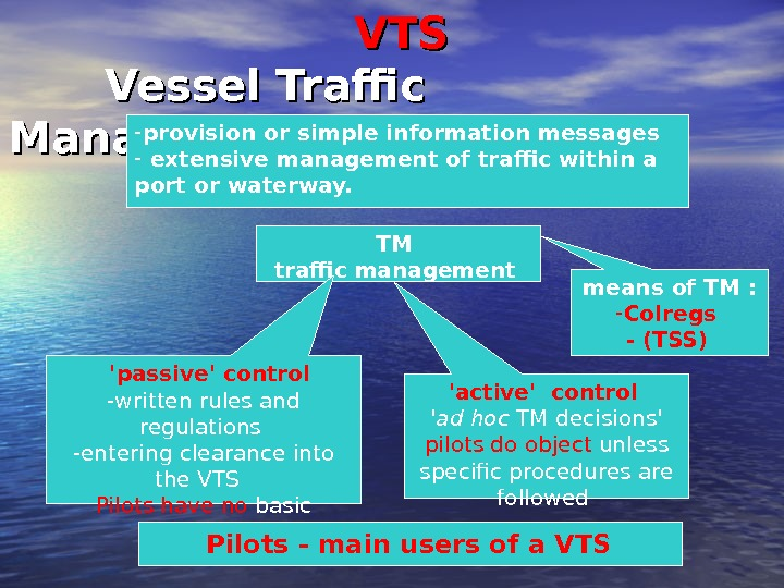 VTSVTS    Vessel  Traffic Management  - provision