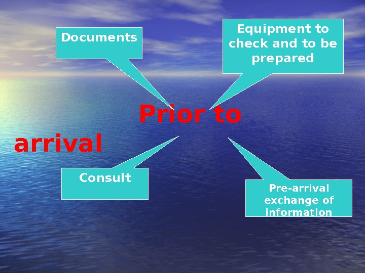 Prior to arrival Pre-arrival exchange of information. Consult Equipment to check and