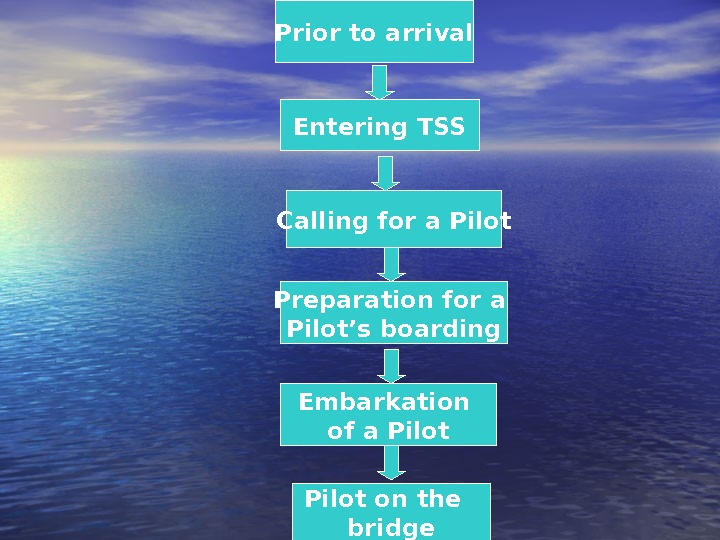Prior to arrival Preparation for a Pilot's boarding Entering TSS Calling for a Pilot