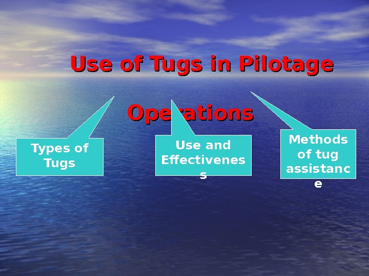 Use of Tugs in Pilotage     Operations Types of Tugs