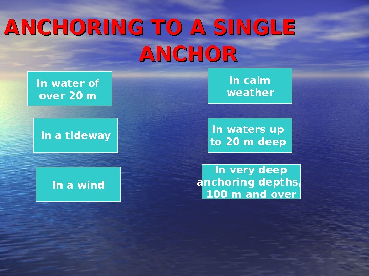ANCHORING TO A SINGLE     ANCHOR In a tideway In a