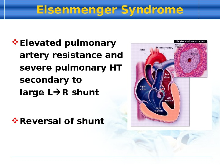Eisenmenger Syndrome Elevated pulmonary artery resistance and severe pulmonary HT secondary to  large L R
