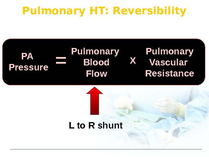 Pulmonary  HT: Reversibility PA Pressure Pulmonary Blood Flow Pulmonary Vascular Resistance. X L to R